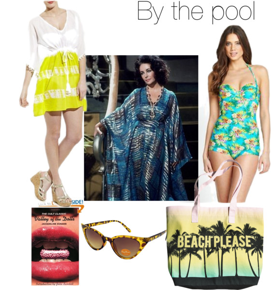 By the pool fashion collage