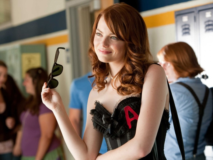 Scarlet A on Emma Stone's clothing in Easy A